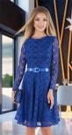 Гипюровое платье с ремешком № 3914,ярко синее