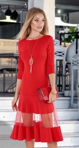 Эффектное платье МИДИ № 3433 , красное