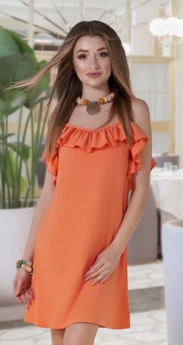 Свободное платье № 3778, апельсиновое