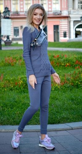 Тёплый вязанный костюм № V9001 , JEANS