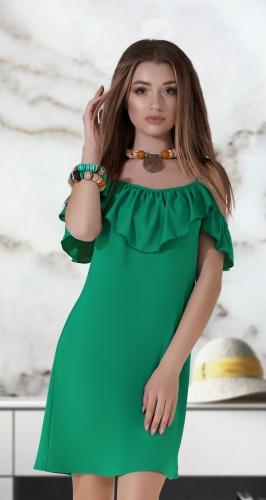 Свободное платье № 3778, зелёное