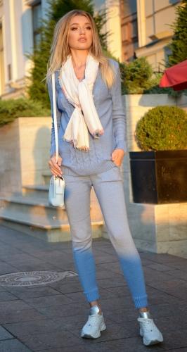 Тёплый вязанный костюм № V9001 ,голубой