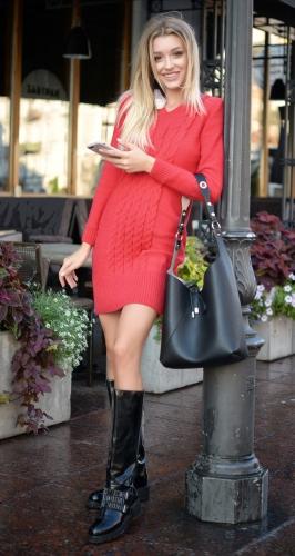 """Вязанное платье № V 90023  , цвет """" красный коралл"""""""