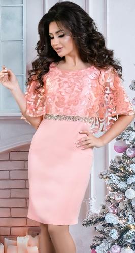 Вечернее платье с шёлковой вышивкой пудра