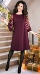 Нарядное расклешенное платье с красивыми рукавами марсала