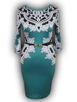 Платье № 9057 бирюза