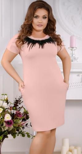 Красивое  платье с перьями № 3875,пудровое