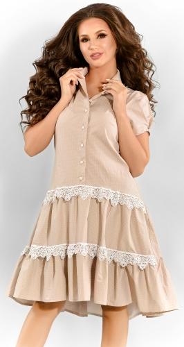 Платье № 3299SN горох на бежевом