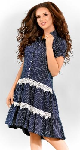 Платье № 3299SN горох на синем