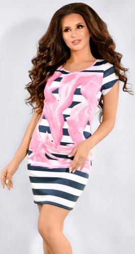 Сине-белое платье в полоску с розовым узором