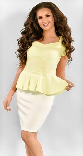 Желтый женский костюм с молочной юбкой