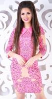 Платье № 13721N розовые вензеля на бежевом (розница 607 грн.)