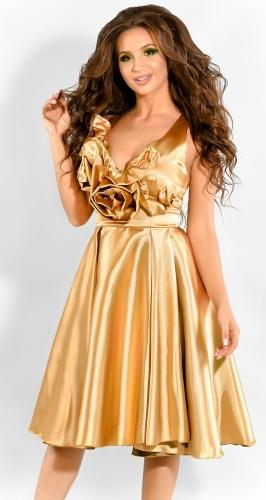 Нарядное атласное платье золотого цвета (розница 525 грн.)