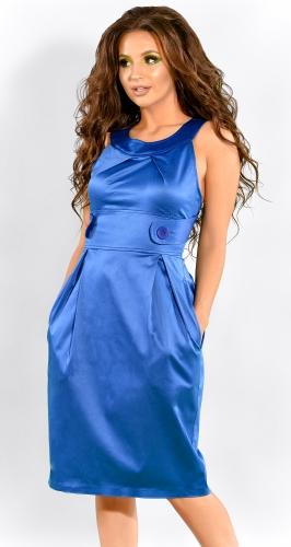 Стильный синий атласный сарафан (розница 336 грн.)