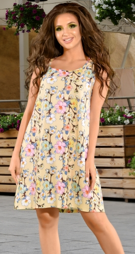 Платье № 1715N цветы на бежевом (розница 610 грн.)