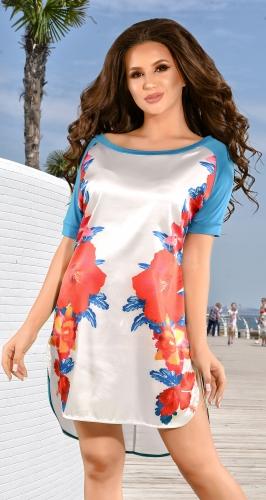 Платье-туника № 1022 белое и цветы (розница 390 грн.)
