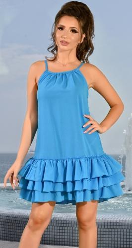 Летнее голубовое платье с рюшами