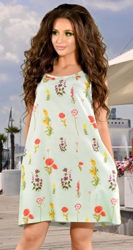 Платье № 1715N цветы на минте (розница 610 грн.)