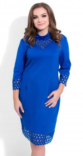 Модное  платье № 35091,ярко синее