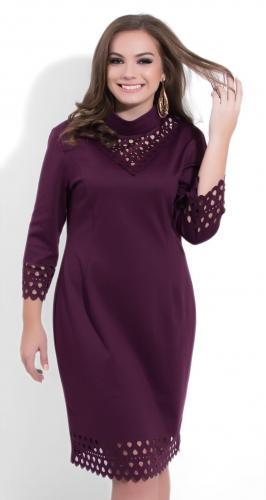 Модное бордовое платье № 35091
