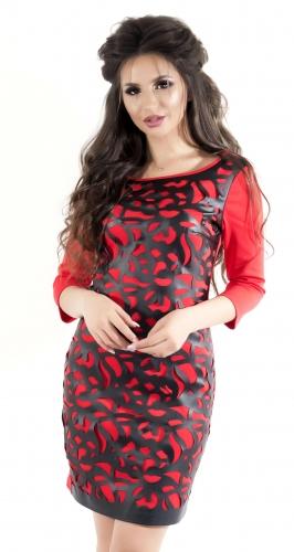 Платье с эко-кожей № 3524S, красное
