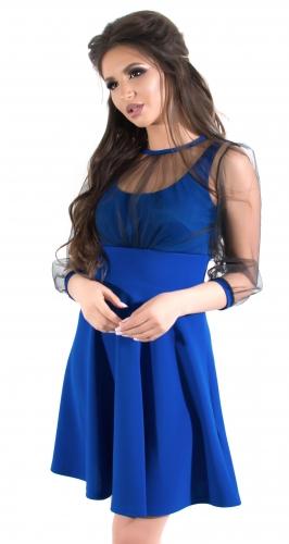 Красивое коктейльное платье с легкой сеточкой в горошек, ярко синее