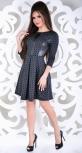 Стильное платье  с эко кожей №1491