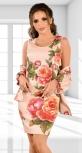 Бежевый деловой костюм с принтом роз