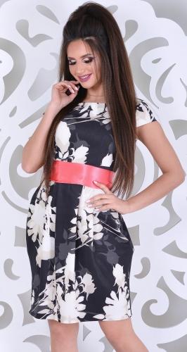 Платье № 984N бежевые цветы на черном