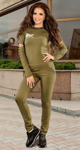 Трикотажный спортивный костюм хаки