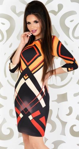 Платье № 9583N оранжевый+ромбы (розница 524 грн./605 грн.)
