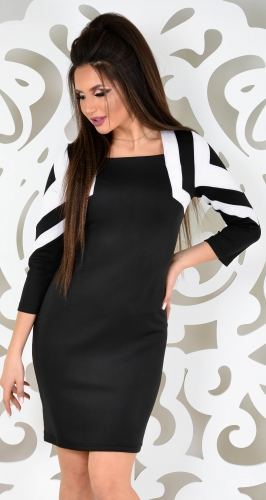 Платье № 1429N черный+белый (розница 620 грн./645 грн.)
