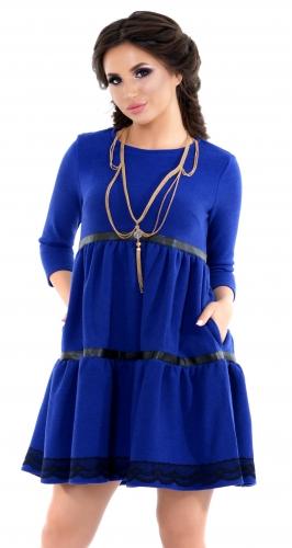 Платье с оборками и отделкой из эко-кожи
