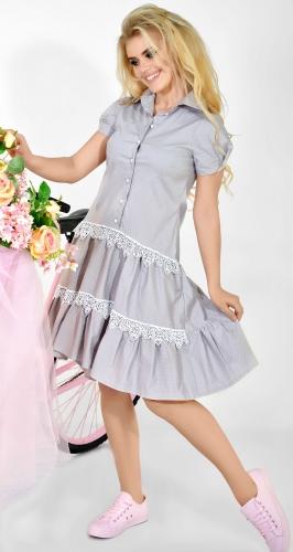 Платье № 3299SN розовый горох на сером