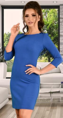 Красивое синее платье с открытой спиной