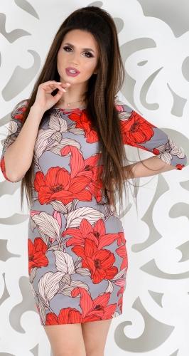 Платье № 1213N красная лилия на сером