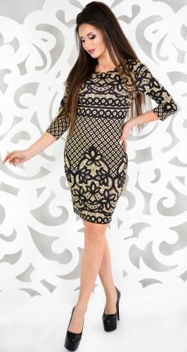 Платье № 1405N черный узор на бежевом (розница 523 грн.)