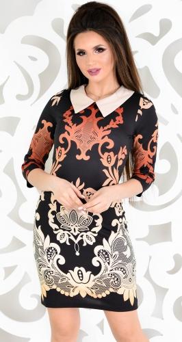 Платье № 1476N коричневый узор на черном