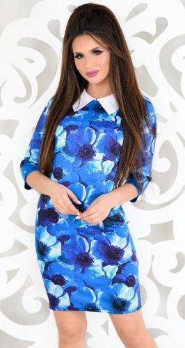 Платье № 13721 синие цветы