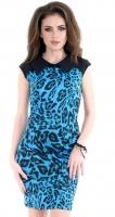 Платье № 1258 синий леопард