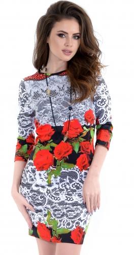 Платье № 1431N розы с кружевом (розница 517 грн.)