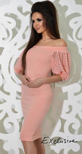 Платье № 1756L персик