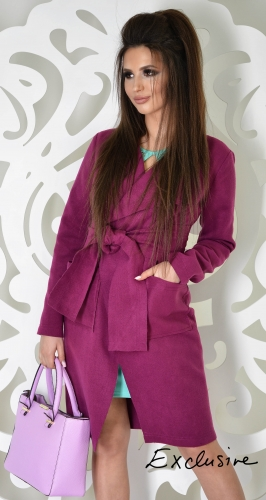 Пальто № 3617L фуксия