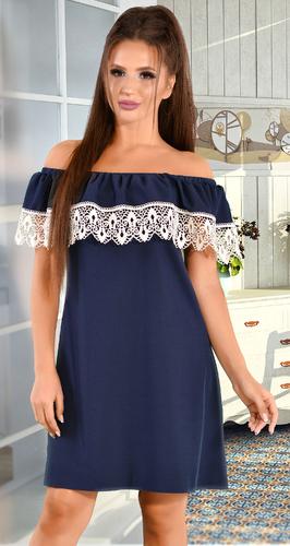 Платье синее с открытыми плечами