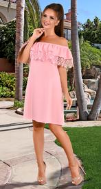 Платье розовое с открытыми плечами (розница 515 грн.)