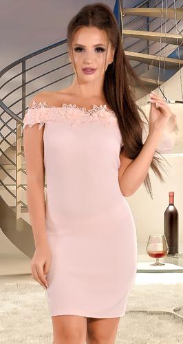 Платье с открытыми плечами розового цвета  № 34033