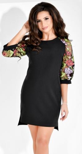 Модное черное платье с вышивкой на рукавах (розница 630 грн./645 грн.)