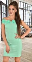 Платье с открытыми плечами цвета мята № 34033