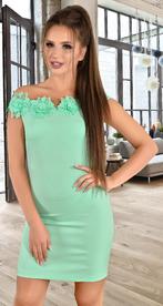 Платье с открытыми плечами цвета мята (розница 520 грн.)