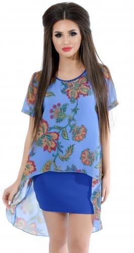 Платье № 1292N восточное синее (розница 472 грн.)